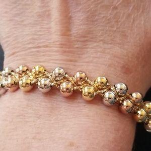 Brazilian Tri Color Gold Filled Bubble Bracelet